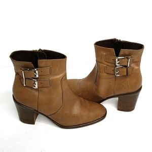 J. Crew Dean Ankle Boots Brown Leather Buckles 7.5